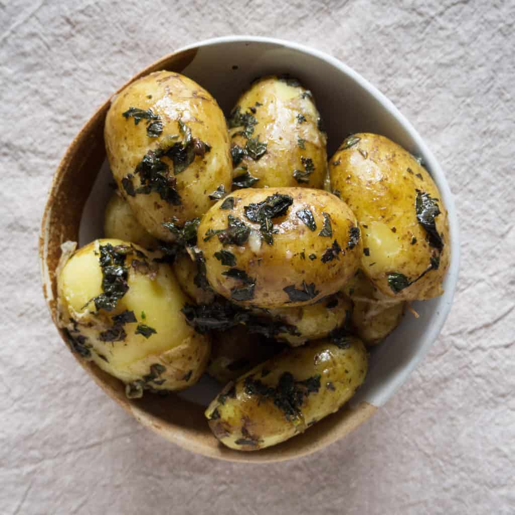 Jersey Royal Potatoes with Mint - Gluten-Free, Vegan