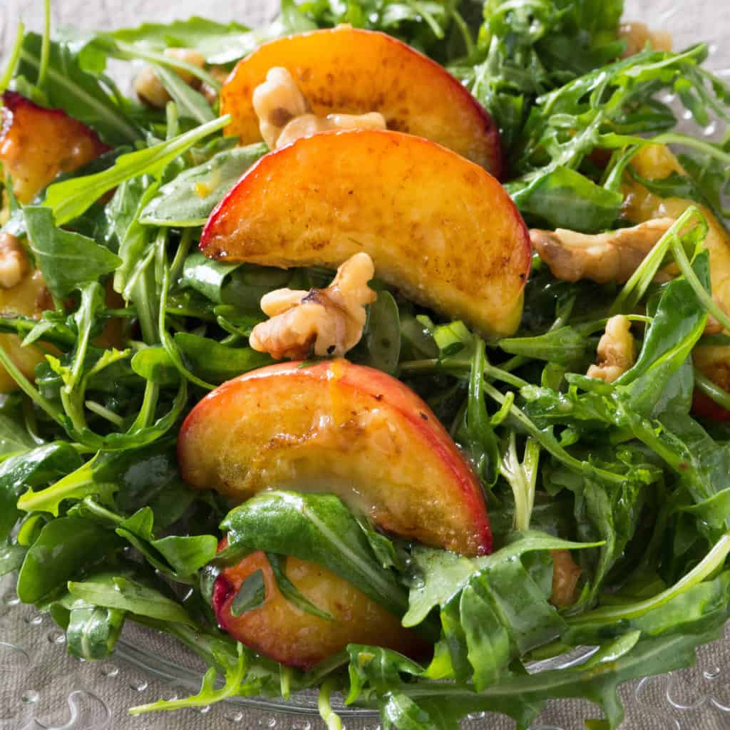 Grilled Nectarine Salad with Rocket and Walnuts