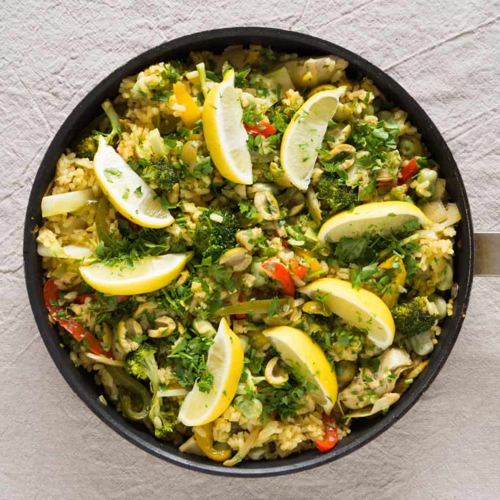 Gluten-free, vegan, allergy-friendly, seasonal. Summer Vegetable Paella