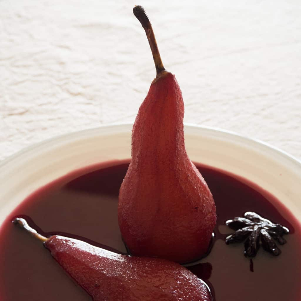 Pears Poached in Spiced Red Wine. Gluten-free, vegan. From FriFran