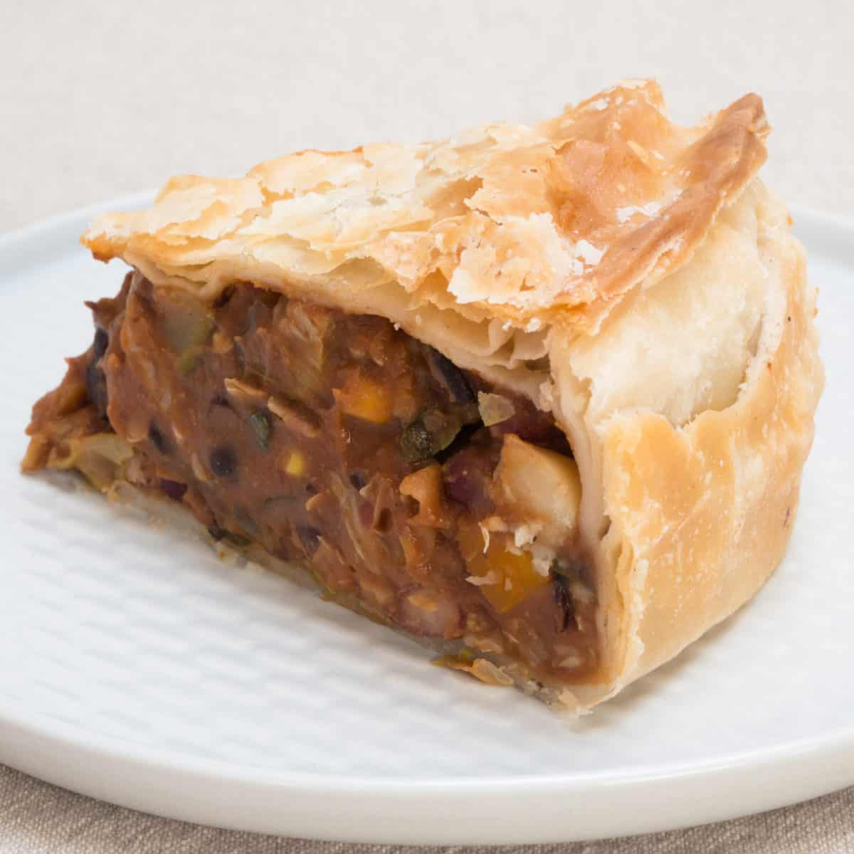 Three Bean Chilli Pie. Ready to eat. Gluten-free, vegan.